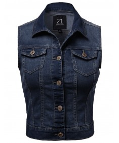 Women's Medium Stone Wash Strechy Denim Vest