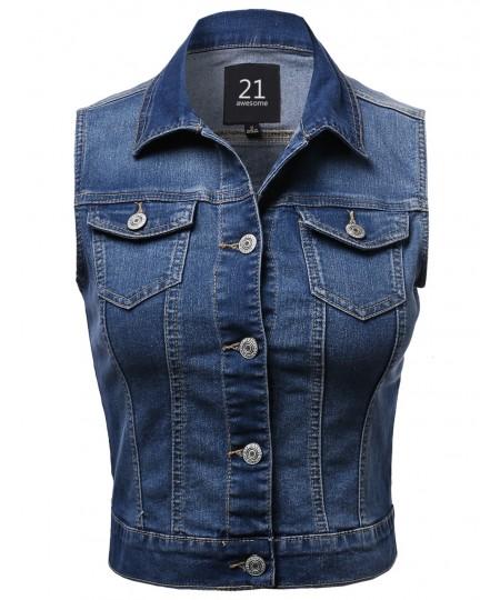 Women's Medium Stone Wash Strechy Denim Vest