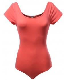 Women's Basic Short Sleeve Scoop Neck Bodysuits