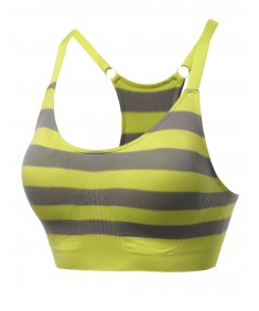 Women's Sporty Wirefree Padded Striped Adjustable Sport Bras