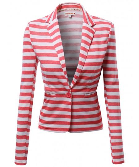 Women's Slim Long Sleeve Stripe Blazers