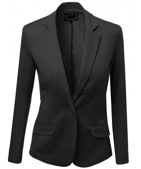 Women's Basic Solid Slim Fit One Button Blazers