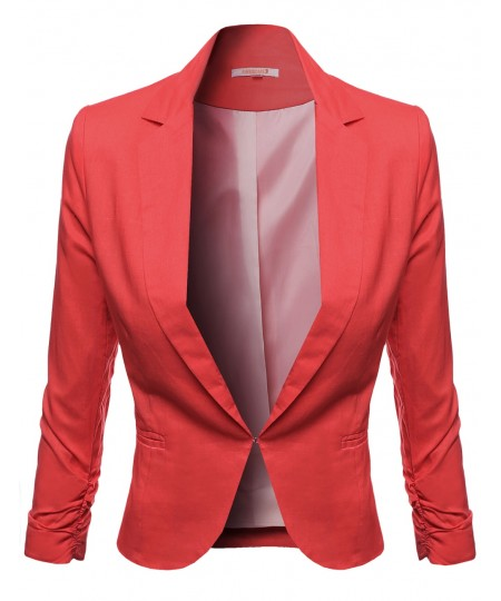Women's 3/4 Sleeve Hook Closure Shirring Sleeve Blazers