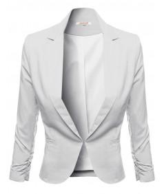 Women's 3/4 Sleeve Hook Closure Shirring Sleeve Blazers