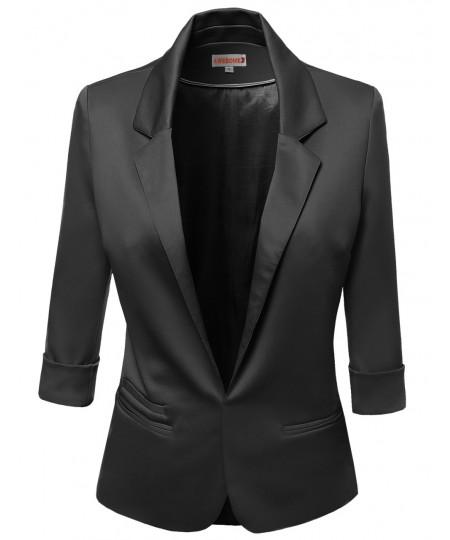 Women's 3/4 Sleeve Lining Open Blazers