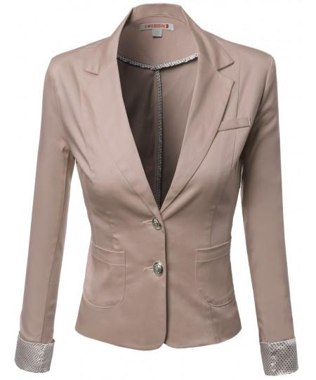Women's Polkadot 3/4 Sleeve Contrast Blazers