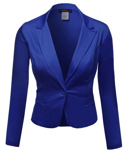 Women's Basic Solid Color Princessline Silky Cotton Plus Size Blazer
