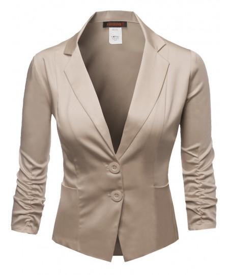 Women's Basic Solid Color Sherring Sleeve Boyfriend Plus Size Blazer