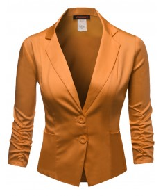Women's Basic Solid Color Sherring Sleeve Boyfriend Plus Size Blazer