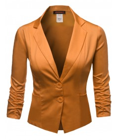 Women's Zipper Detail Belted Neck Long Sleeve Short Suit Blazer Jacket