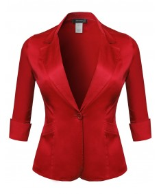 Women's Basic Solid 3/4 Sleeve Boyfriend Plus Size Blazer