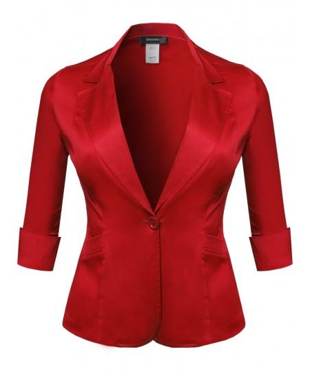 Women's Basic Solid 3/4 Sleeve Boyfriend Plus Size Blazer