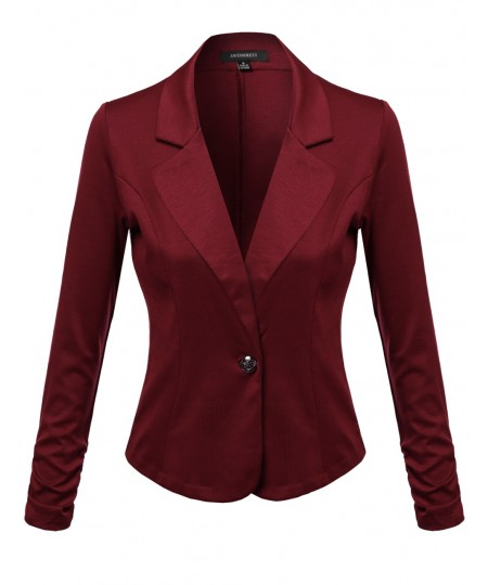 Women's Solid Good Stretchy Comfy Jacket One Button Blazer