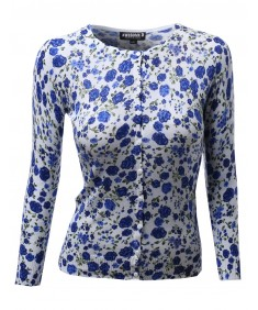 Women's 3/4 Sleeve Crew Neck Floral Leopard Printed Sweater Cardigans
