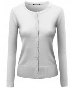 Women's Basic Solid 3/4 Sleeve Crewneck Sweater Cardigans