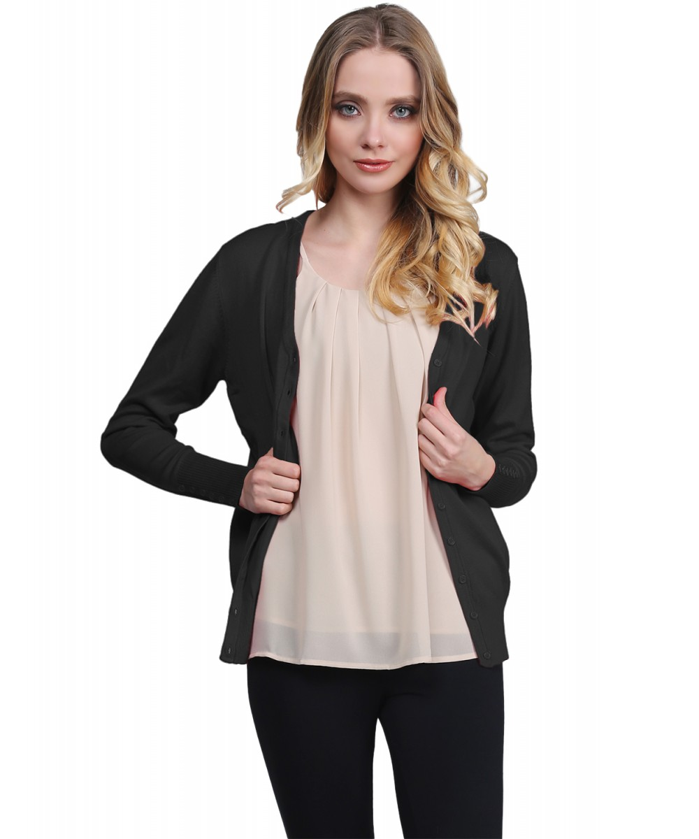 0242eac7e9 Women s Basic Solid V Neck Cuff Button Sweater Cardigan Layer Top ...