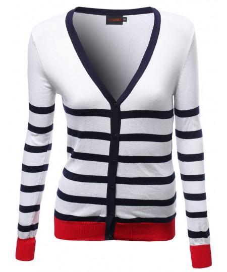 Women's Basic Stripe Color Contrast V Neck Cardigans