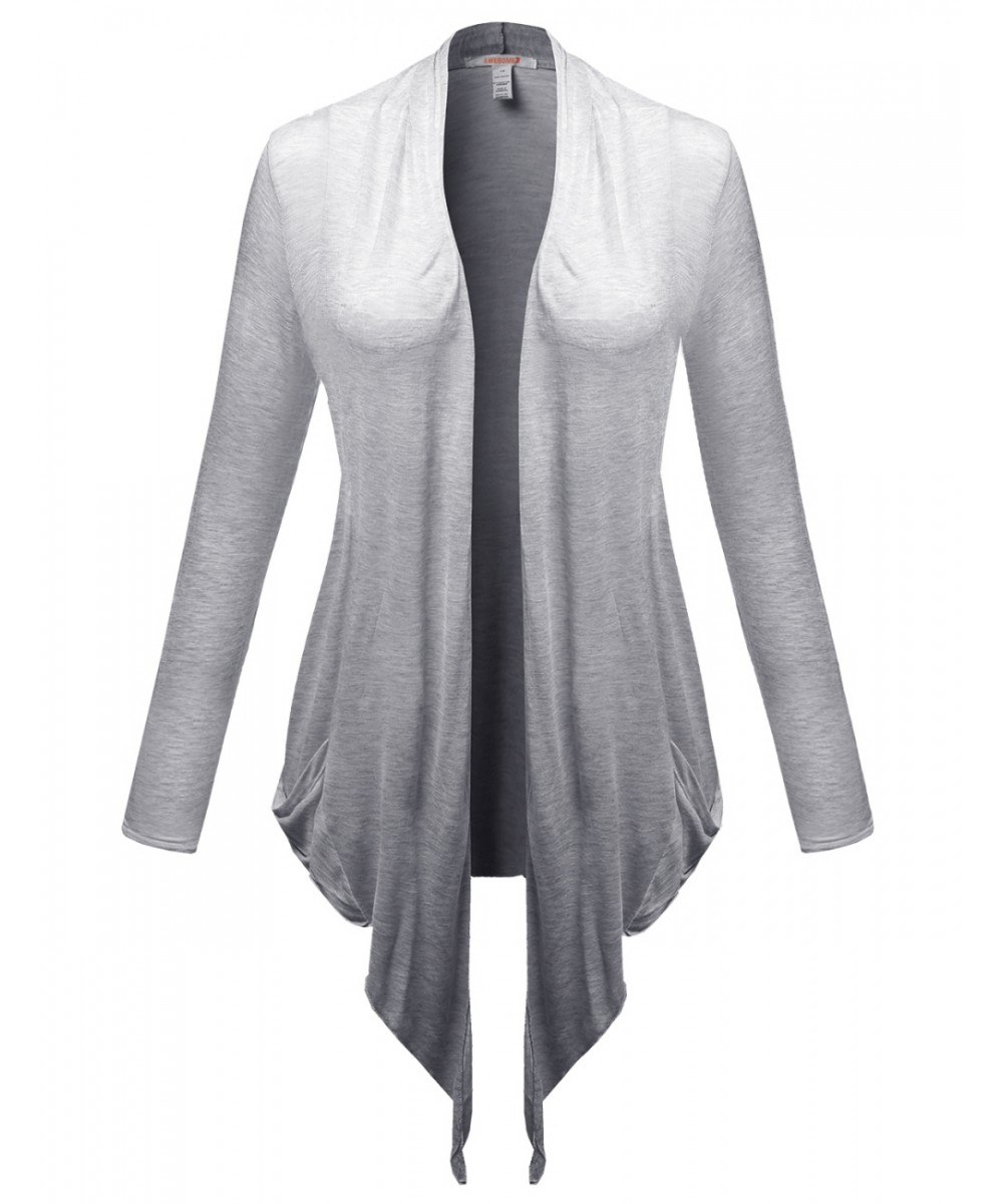 Shawl Collar Open Plus Size with Pocket Cardigans - FashionOutfit.com