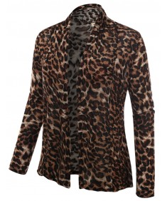 Women's Animal Printed Open Drape Plus Size Cardigan