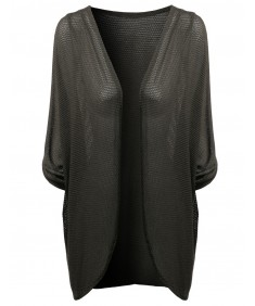 Women's Light Weight Sexy See Through 3/4 Sleeve Batwing Cardigan
