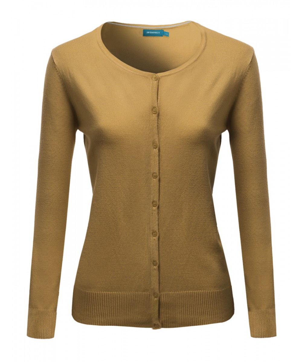 Women Basic Career Solid Round Neck Sweater Cardigan Layer Top ...