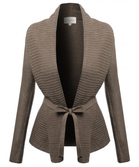 Women's Shawl Collar Drape Open Cardigan With Belt