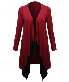 Women's Open Drape 37 Long Adorable Color Contrast Plus Size Cardigan