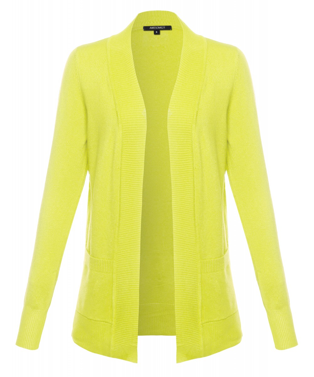Women's Basic Relaxed Solid Open Front Pockets Sweater Cardigan ...