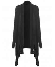 Women's Long Sleeve Cardigan with Fringe
