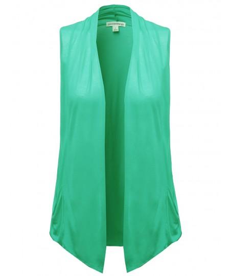 Women's Basic Shawl Collar Sleeveless Jersey Vest Cardigans