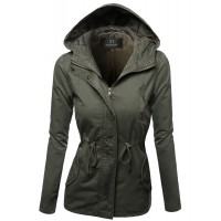 Women's Hooded Drawstring Military Jacket Parka Coat Outerwear