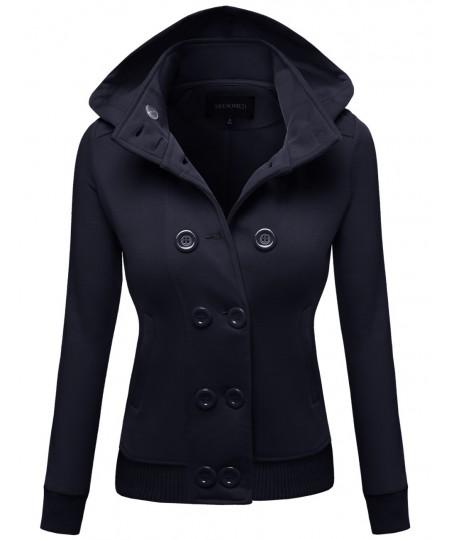 Women's Detachable Hood Using Zipper Casual Funnel Neck Coat