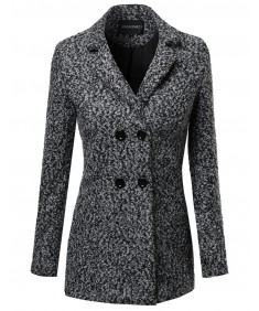 Women's Boucle Yarn Classic Double Breasted Coat