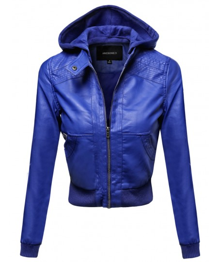 Women's Faux Leather Detachable Hood Biker Bomber Jacket