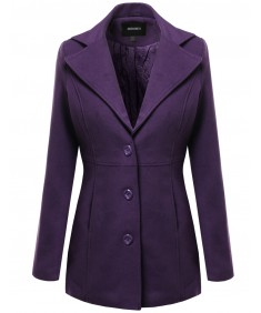 Women's Warm Classic Single Breasted Winter Coat Around 30Inch Length