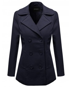 Women's Warm Classic Double Breasted Winter Coat Around 30Inch Length