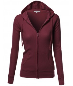 Women's Basic Lightweight Zip Hooded Jackets