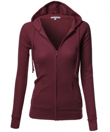 Women's Basic French Terry Zip Up Workout Hoodie Jackets _x000D_