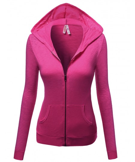 Women's Basic Solid Zip Up Hooded Jackets