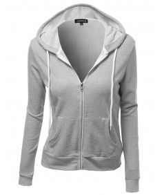 Women's Basic French Terry Zip Up Workout Hoodie Jackets