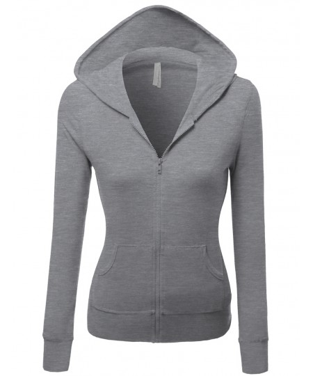 Women's Cotton Spandex Basic Casual Zip Up Thermal Hooded Jacket