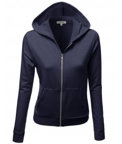 Women's Cotton Base Basic Casual Zip Up Thermal Hooded Jacket