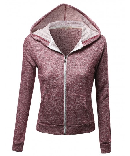 Women's Long Sleeve Two Tone Melange French Terry Zip Hoodie Jacket