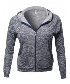Women's Long Sleeve Two Tone Melange French Terry Zip Plus Size Hoodie