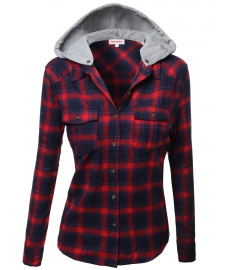 Women's Super Soft Plaid Checker Detachable Hood Flannel