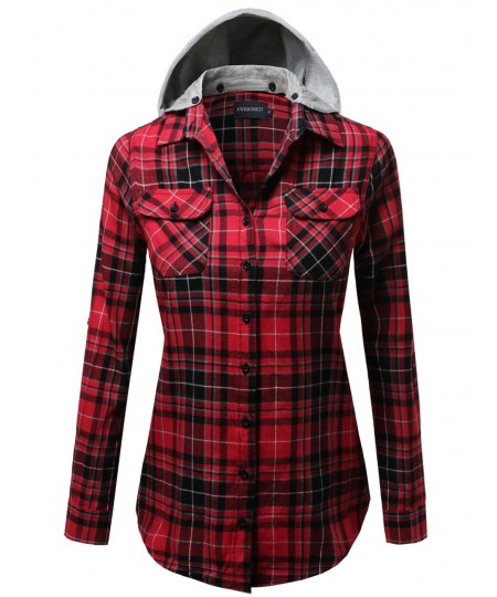 Women's Soft Plaid Checkered Detachable Hood Flannel