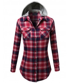 Women's Soft Plaid Checkered Detachable Hood Flannel
