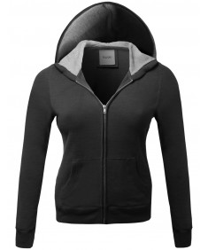 Women's Warm Fleece Zip Up Hoodie Thermal Contrast Plus Size