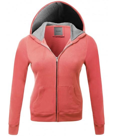 Women's Warm Fleece Zip Up Hoodie Thermal Contrast Plus Size