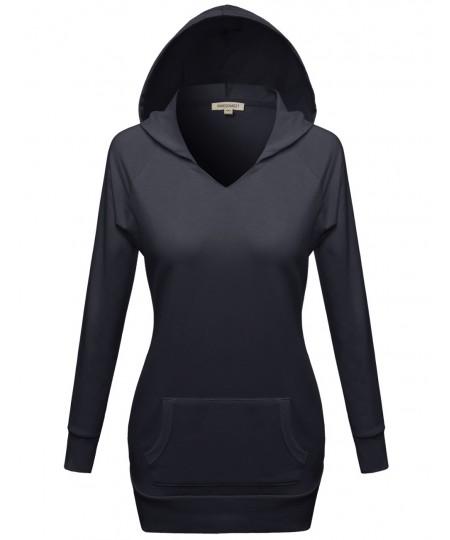 Women's Fleece Lined Lightweight Longline Pullover Hoodie